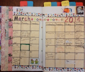 First page for each month is a monthly calendar.